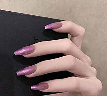BABALAL 24Pcs Long Coffin Fake Nails Metallic Mirror Effect False Nails Aurora Purple Full Cover Artificial Press on Nails for Women and Girls