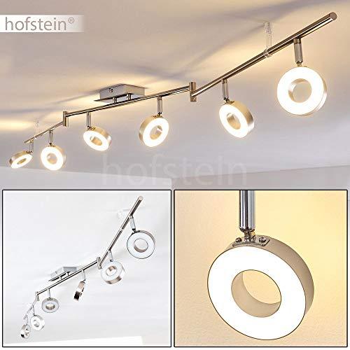 LED Deckenleuchte Russell, verstellbare Deckenlampe aus Metall in Stahl gebürstet, 6-flammig, 6 x 4,3 Watt, 2400 Lumen (insgesamt), Lichtfarbe 3000 Kelvin (warmweiß)