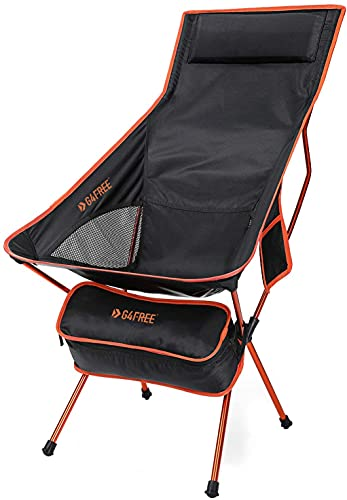 G4Free Lightweight Portable Chair Outdoor Folding Backpacking Camping Lounge Chairs for Sports Picnic Beach Hiking Fishing (Orange)