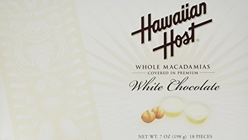 Hawaiian Host WHOLE MACADAMIAS COVERED IN PREMIUM WHITE CHOCOLATE BOX NET WT 7 OZ 198 g