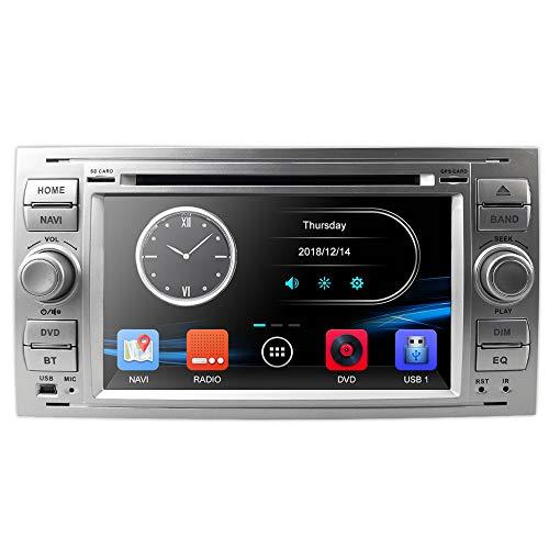 hizpo Silber 7 Zoll 2 Din Autoradio Moniceiver DVD GPS Bluetooth Navigation für Ford C-Max/Connect/Fiesta/Focus/Fusion/Galaxy/Kuga S-Max/Transit/Mondeo
