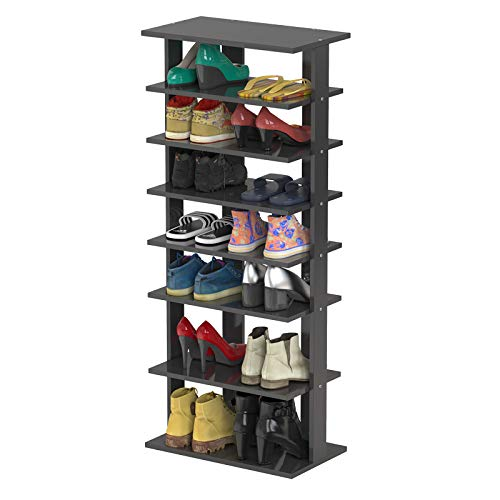Tangkula 7 Tiers Vertical Shoe Rack, Entryway Wooden Shoes Racks, Modern Shoe Rack Organizer, Space Saving Shoes Storage Stand for Front Door (Black, Double)