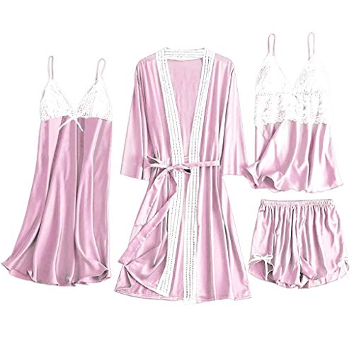 4 Pieces Satin Silk Sleepwear Lounge Nightgown Female Women Pajamas Sets Lace with Chest Pads Pink