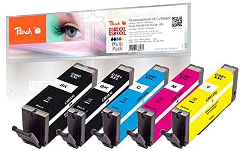 Peach Pack Ahorro de Cartuchos de Tinta XXL compatibles con Canon PGI-580XXL, CLI-581XXL