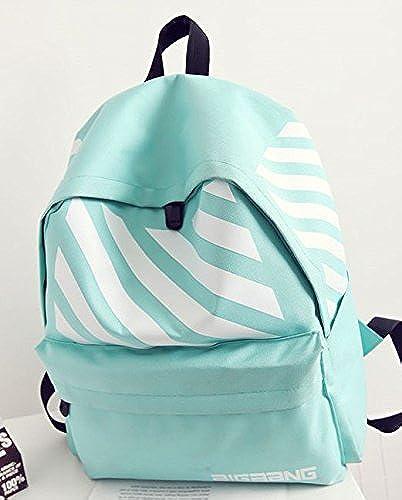 Canvas Double Shoulder Bag Lady Korea edition Akademie wind Schultasche M lichen und Weißichen gestreifte travel Rucksack, HellGrün