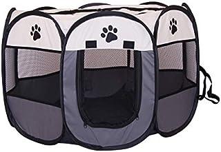 MAXLEAF八角形 ペットケージ メッシュサークル 折り畳み式 防水 ペットテント 通気性 犬/猫用 (グレー)