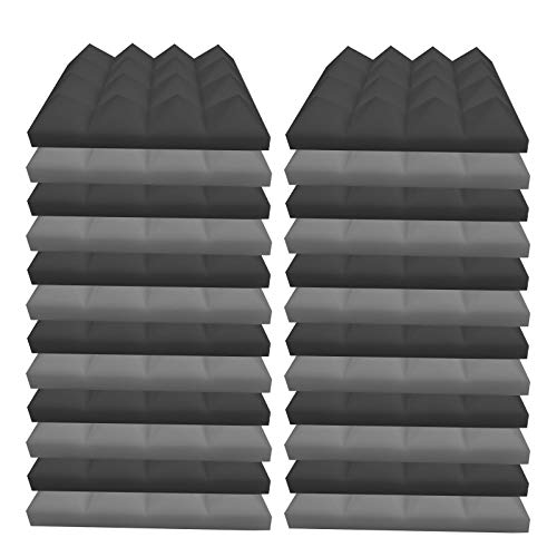 DeBaDe 24PC Acoustic Foam Panels Soundproof Flame Retardant Studio Wedge Tiles Acoustic Foam Sponge Studio for Piano Room Audio-Visual Room Home Theater Sound-Absorbing Cotton (9.8x9.8inch) (24PC, A)