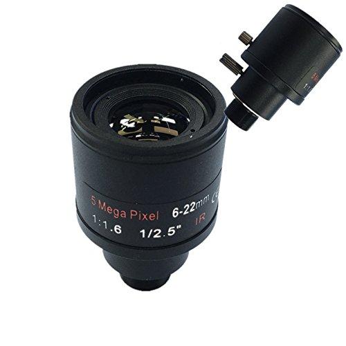 SODIAL CCTV objektiv 1/2,5 Zoll 6-22mm 5MP M12 montieren varioobjektiv F1.6 Fuer 4MP / 5MP CMOS/CCD Sensor Sicherheit IP/AHD Kamera
