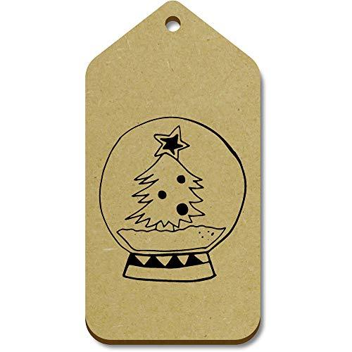 Azeeda 10 x Large 'Christmas Tree Snow Globe' Wooden Gift Tags (TG00096286)