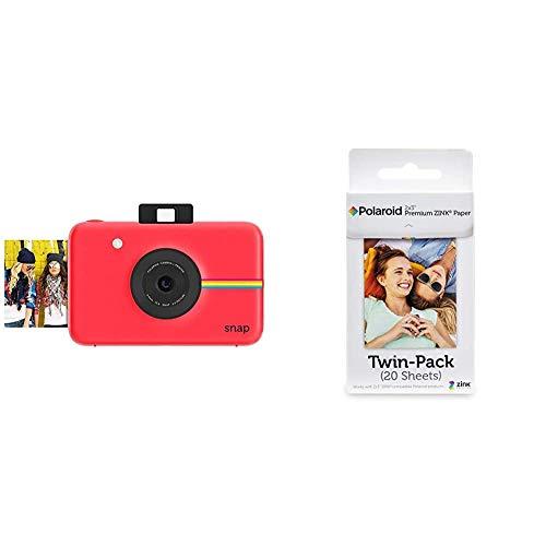 Polaroid Fotocamera Digitale a Scatto Istantaneo con Tecnologia di Stampa a Zero Inchiostro Zink, Rosso & Premium Zink Carta Fotografica Compatibile con Polaroid Zip, Snap, Snap Touch, Z2300