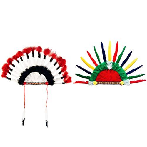 SOIMISS 2 Stücke Indian Kopfschmuck Feder Kopfbedeckung Indianer Häuptling Hut Federschmuck Stirnband Weihnachten Kopfschmuck für Kinder Erwachsene Karneval Fasching Cosplay Kostüm