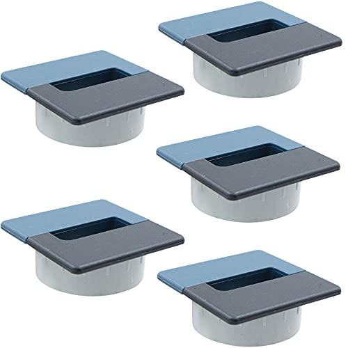 Pasacables para cables de escritorio – 5 unidades de orificio rectangular de 70 mm x 70 mm con sierra perforadora de 60 mm para gestión de cables de oficina, ordenador, escritorio, negro y azu