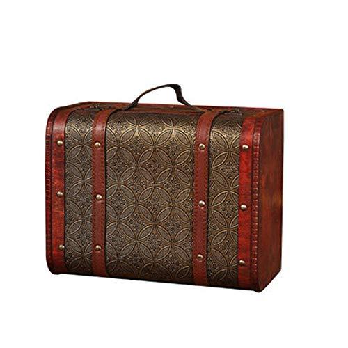 Decoración maleta Maleta retro estilo europeo Crafts Decoración por la Ventana Adornos 1PC Vintage maleta de madera Puntales de disparo Maleta antigua ( Color : Multi-Color , Size : L(30x23x15cm) )