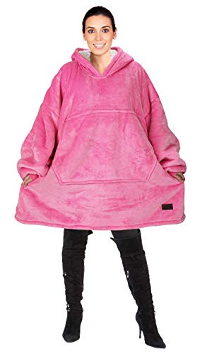 Catalonia Oversized Hoodie Blanket Sweatshirt,Super Soft Warm Comfortable Sherpa Giant Pullover with Large Front Pocket,for Adults Men Women Teenagers Kids,Pink