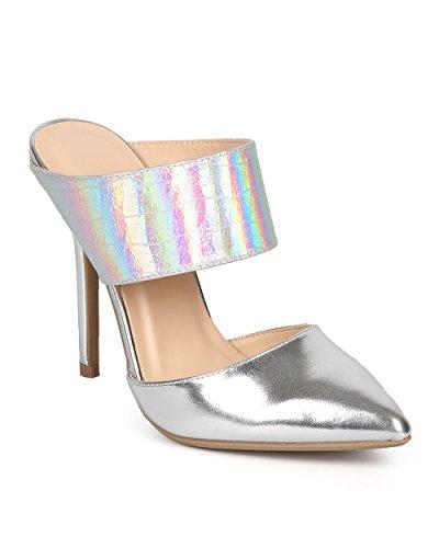 Wild Diva Women Iridescent Metallic Pointy Toe Stiletto Mule Pump DJ53 - Silver Metallic (Size: 5.0)
