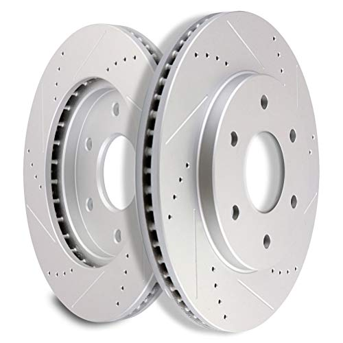SCITOO Brakes Rotors 2pcs Front Drilled Slotted...