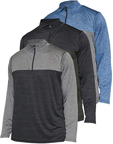 Mens Quarter 1/4 Zip Pullover Long Sleeve Athletic Dry Fit Shirt Gym Golf Half Zip Top Thermal Workout Sweatshirt Sweater Jacket - 3 Pack-Set 2,L
