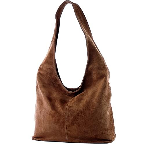 modamoda de - ital. Leather Bag Shoulder Bag Shoulder Bag Damentasche Wildleder T150, Colour:dark Camel