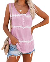 LAMISSCHE Womens Tie Dye Tank Tops Summer Sleeveless Henley Shirts Button Up Scoop Neck Casual Workout Camis(Pink,L)