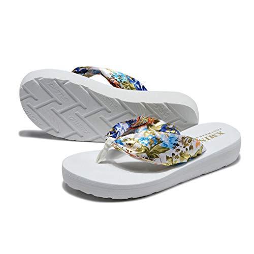 Sandalias de Mujer Flip Flop Sandalia Bohemia Satin Slip-onThong Zapatos de Playa Ligeros
