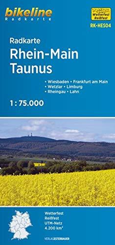 Radkarte Rhein-Main, Taunus (RK-HES04): Frankfurt am Main – Gießen – Lahn – Limburg – Westerwald – Wetzlar – Wiesbaden. 1:75.000, wetterfest/reißfest, GPS-tauglich mit UTM-Netz