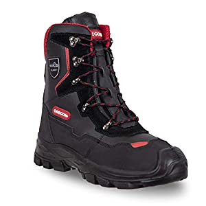 Oregon 295449/45 Yukon Clase 1 (20 m/s) -Botas Protectoras para Motosierra de Piel, Negro/Rojo, 10,5 UK