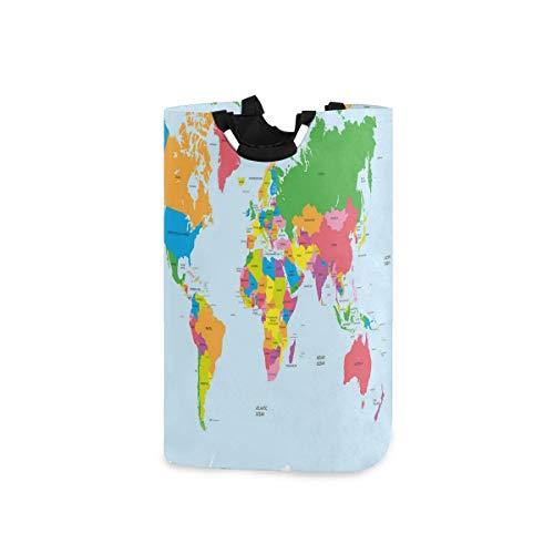 DYCBNESS Cesto para la Colada,Mapa Colorido Mundo político impresión,Cesta de lavandería Plegable Grande,Cesto de Ropa Plegable,Papelera de Lavado Plegable