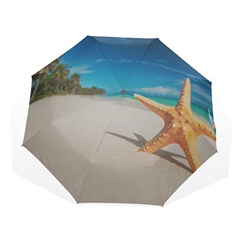 Reiseschirme Kompakt Schöne Shell Sea Beach 3-Fach Kunstschirme (außerhalb Druck Kinder Faltschirm Reise Sonnenschirm Sonnenschirme für Kinder
