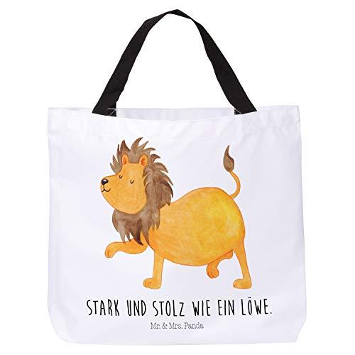Mr. & Mrs. Panda Frau, Strandtasche, Shopper Sternzeichen Löwe mit Spruch - Farbe Weiß