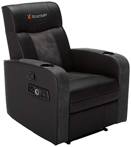 X Rocker 0717301 Premier 2.1 Wireless Bluetooth Stereo Sound Recliner, Dual Audio Foldable Gaming Chair and Home Theater Seating with Cupholders - Vibrating Subwoofer & Footrest, Black and Gray