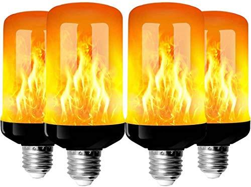 Bombillas de llama, Swonuk 4 Modo de luz Regulable Filamento LED, E27 Vidrio Matte Luces Decoración para Hogar, Jardín, Restaurantes, Fiesta(4 piezas)