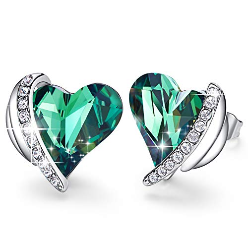 CDE Women Stud Earrings, Eleglant heart stud Earrings White Sliver Plated Embellised with Austrian Crystals Christmas Gifts for Women
