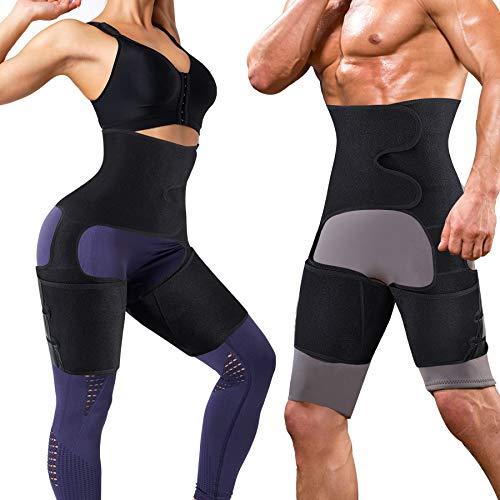 YERKOAD Sauna Sweat Waist Trimmer Thigh for Women & Men Weight Loss Body Shaper Tummy Control Waist Trainer Workout Belt (Blue, Medium)