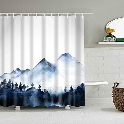 Navy Watercolor Mountains Trees Duschvorhang mit 12 Vorhangringen, einfaches modernes wasserdichtes Polyester-Badezimmerdekor-Stoffset, beinhaltet 12 Haken, farbecht, wasserdicht, 180 * 180 cm