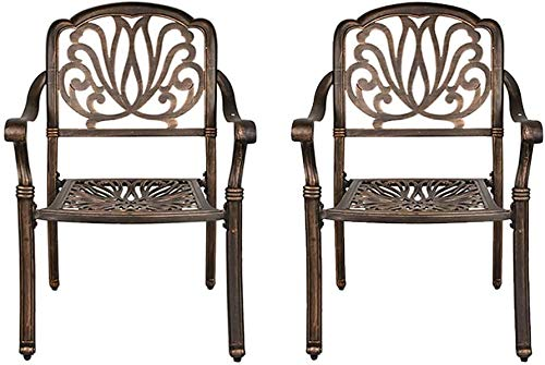 OKIDA 2 Piece Outdoor Dining Chairs, Cast Aluminum Chairs with Armrest, Patio Bistro Chair Set of 2 for Garden, Backyard - Dark Bronze