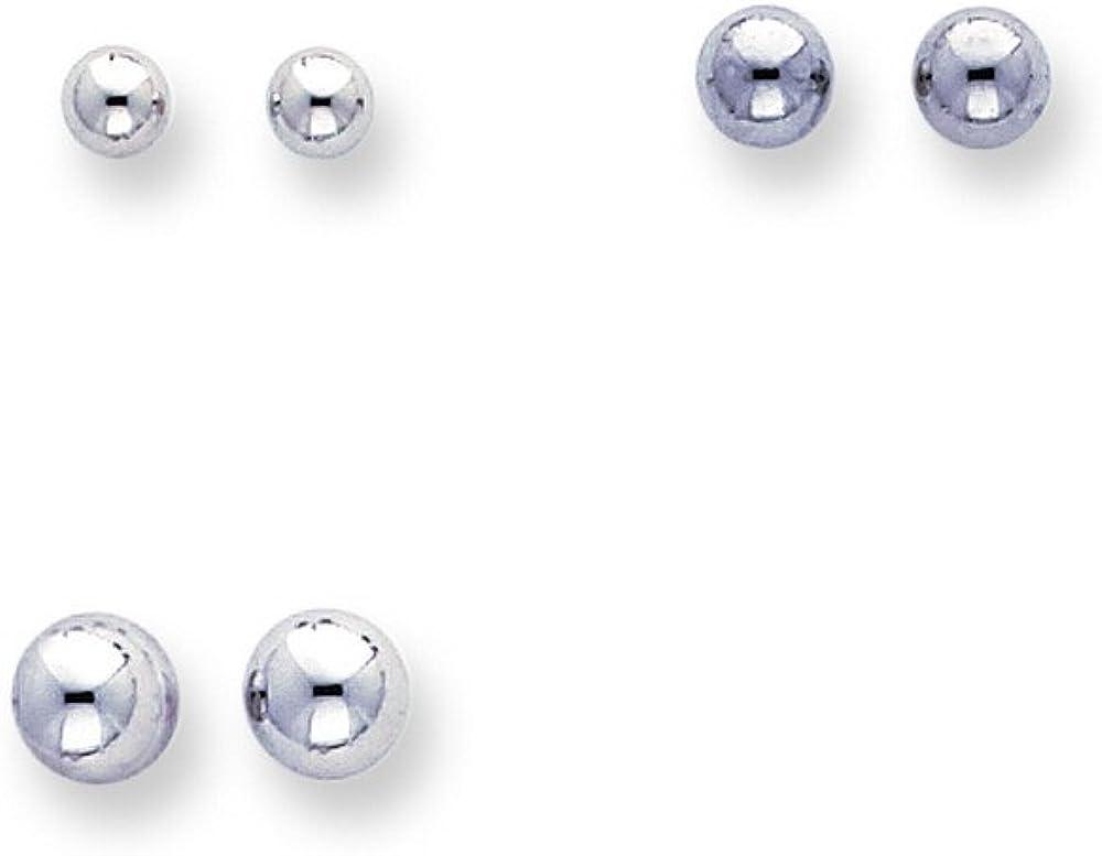 14k White Gold Madi K 4-6mm Balls, Set Of 3 Earrings