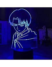 3D illusionslampa LED nattlampa kapten Levi Ackerman figur för barn dagis dekor färgglad bordslampa attack på titan present