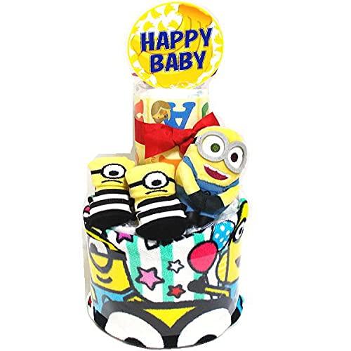 2127おむつケーキ2段男の子女の子 ミニオンズマスコットとベビーソックス パンパースS20枚オムツケーキ出産祝い