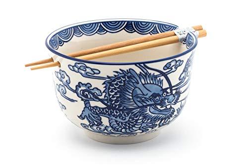 Fuji Merchandise Japanese Ryu Dragon Blue and White Design Quality Ceramic Ramen Udon Noodle Bowl with Chopsticks Gift Set 6.25 Inch Diameter