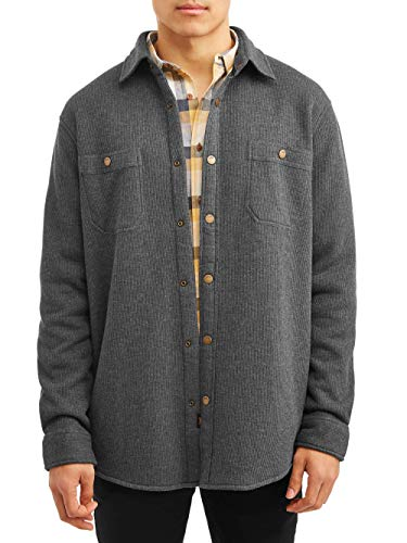 LEE Men's Long-Sleeve Thermal Shirt Jacket with Sherpa Lining (Charcoal Heather Grey) (Small (S))