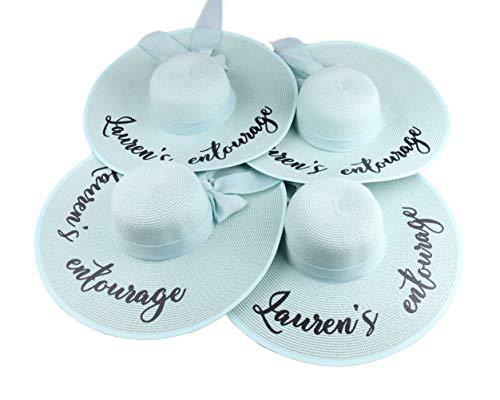 Sombrero de playa personalizado, diseño de Hello Sunshine Your Name or Text con ala grande, para despedida de soltera, fiesta de despedida de soltera, sombrero de paja, para luna de miel