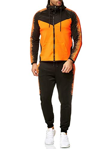 XRebel Kinder Junge Jogginganzug Sportanzug Modell W02 (Schwarz mit Neon Orange abgesetzt, Gr.16(164~170))