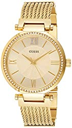 Ladies watch with quartz movement Main band material : stainless steel Main dial colour : gold Main band colour : gold Maximum water pressure resistance : 3 bars