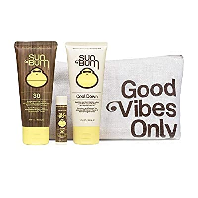 Sun Bum Premium Day Tripper | Travel-Sized Sun Care Pack with Moisturizing Sunscreen Lotion, Sunscreen Lip Balm and Hydrating Cool Down Lotion | Reef Friendly Broad Spectrum UVA/UVB Protection| Includes Travel Bag