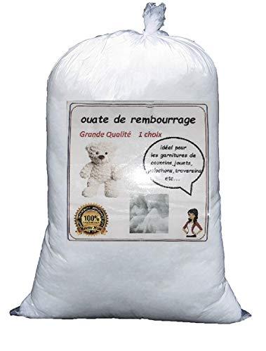 GoLoic Ouate de Rembourrage Blanche, Sac de 1 kg, Standard 100 by Oeko-TEX® Lavable Jusqu'à 60°C - Neuf Made in France