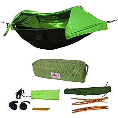 Legacy Premium Food Storage Camping Hammock Tent - Green - Parachute Nylon - Portable, 1 Person Compact Backpacking - Outdoor & Emergency Gear - Tree Straps, Tie Ropes, Mosquito Net, Rain Fly