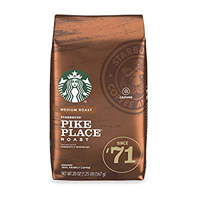 Starbucks Medium Roast Ground Coffee — Pike Place Roast — 100% Arabica — 1 Bag (20 oz.) Great Holiday Gift