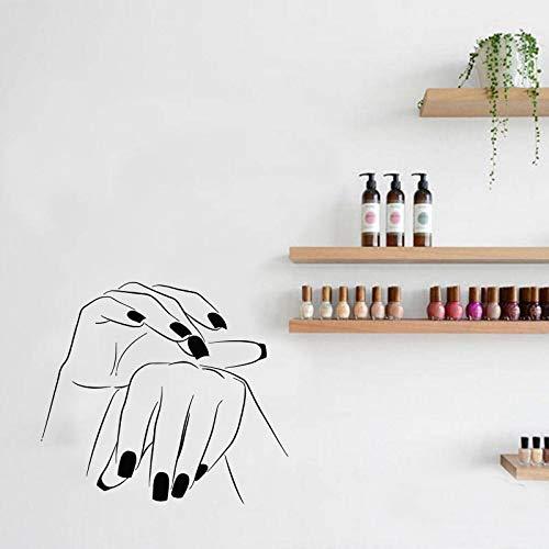 Calcomanía de pared manicura pegatina mano salón de belleza uñas cosmética peluquería papel de pared para barra de uñas Studio Sticke A5 64x57cm
