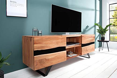 Licht-Erlebnisse Premium TV Lowboard Holz massiv Akazie Unikat 160cm x 65cm x 43cm TV Möbel Wohnzimmer Karima