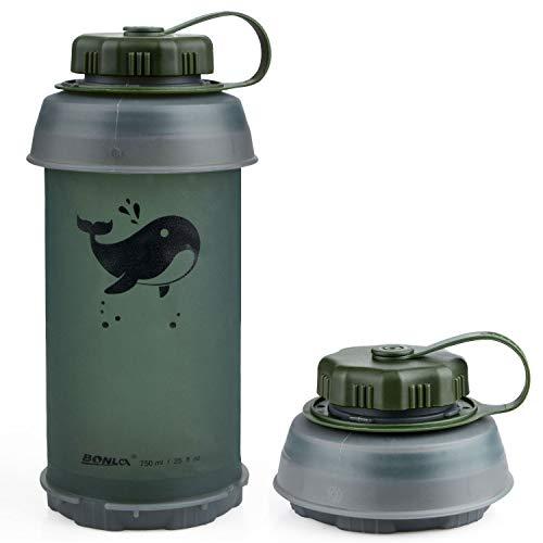 Botella de agua plegable de viaje, de LouisaYork, 750 ml, sin BPA, antigoteo, reutilizable, ligera, ideal para deporte, ocio, exterior y viajes
